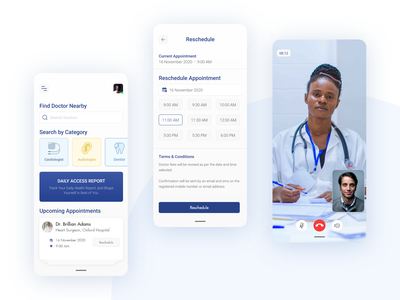 Find Your Doctor patient video calling upcoming schedule appointment nearby doctor report healthcare health concept artist uxdesign ux design conceptdesign cleandesign clean app adobexd
