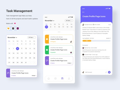 Task Management interaction interface user assign user status calendar tasks management task management task list concept ui uxdesign ux design conceptdesign cleandesign clean app adobexd