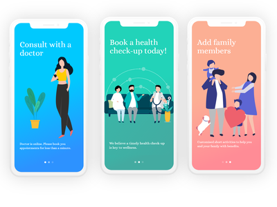 Healthcare Telemedicine family checkup appointment patient doctor telemedicine healthcare artwork artist uxdesign ux ui design conceptdesign cleandesign clean app adobexd