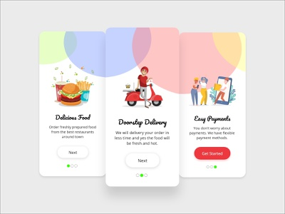Food App characters easy payment door delicious tasty categories delivery food artist ui artwork uxdesign ux design conceptdesign cleandesign clean app adobexd