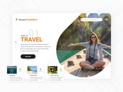 Travel Landing Page Design weather nice places booking hotel holidays beach luxury places travel concept artist ui uxdesign ux design conceptdesign cleandesign clean app adobexd