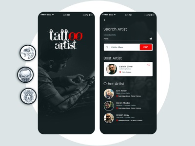 Get Best Tattoo Artist dream technique modern theme enthusiasts clean ui color location tattoo artwork artist ui uxdesign ux design conceptdesign cleandesign clean app adobexd