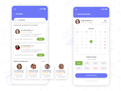 Healthcare doctor calendar booking appointment application time specialist rating location healthcare app concept ui uxdesign ux design conceptdesign cleandesign clean app adobexd
