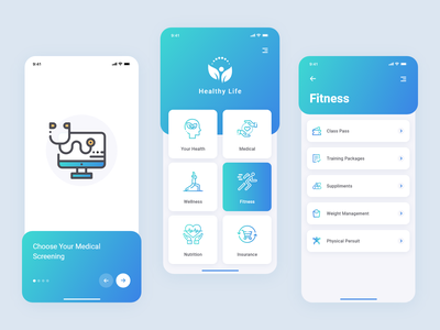 Healthy Life life medical insurance fitness nutrition wellness healthcare iconography trends gradient artist ui uxdesign ux design conceptdesign cleandesign clean app adobexd