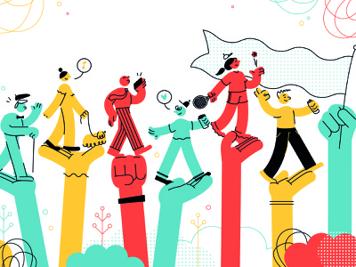 Community vector digital illustration character illustration character design illustration colour palette adobe illustrator linework