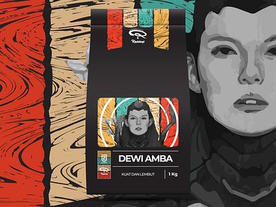 DEWI AMBA COFFEE BEANS PACKAGING packaging design packaging package design illustration design coffee branding coffee beans coffee classic branding