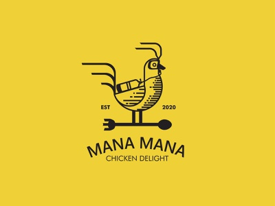 MANA MANA CHICKEN DELIGHT LOGO DESIGN retro coffee classic logodesign packaging branding design packaging design illustration logo