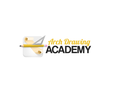 Architectural Drawing Academy Logo icon parchment pencil academy school drawing architecture branding logo