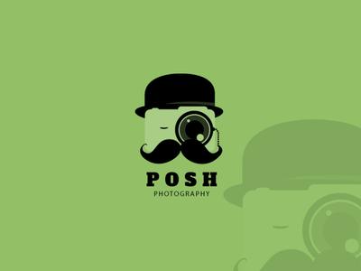 Posh Photography Logo mustache monocle camera hat gentleman posh photography branding logo