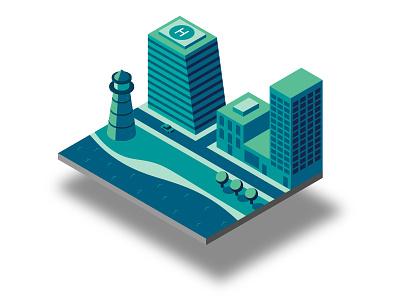 Isometric Seafront vector isometric illustrator