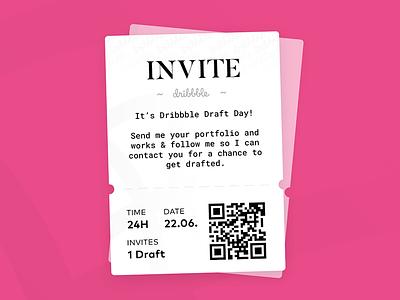 Dribbble Draft Day Invite! (1) ticket boarding ui dribbble draft day invite draft dribbble invite