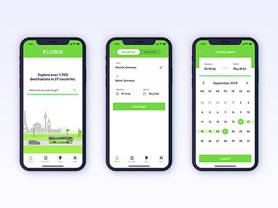 FlixBus App Redesign Concept - 001 search calendar bus flix iphone iphone x ux ui mobile app travel flixbus