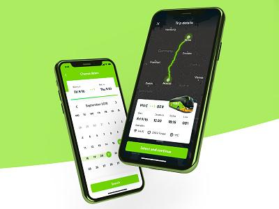 FlixBus App Redesign ⚡️ debut navigation map search dribbble iphone calendar ui mobile app travel flixbus