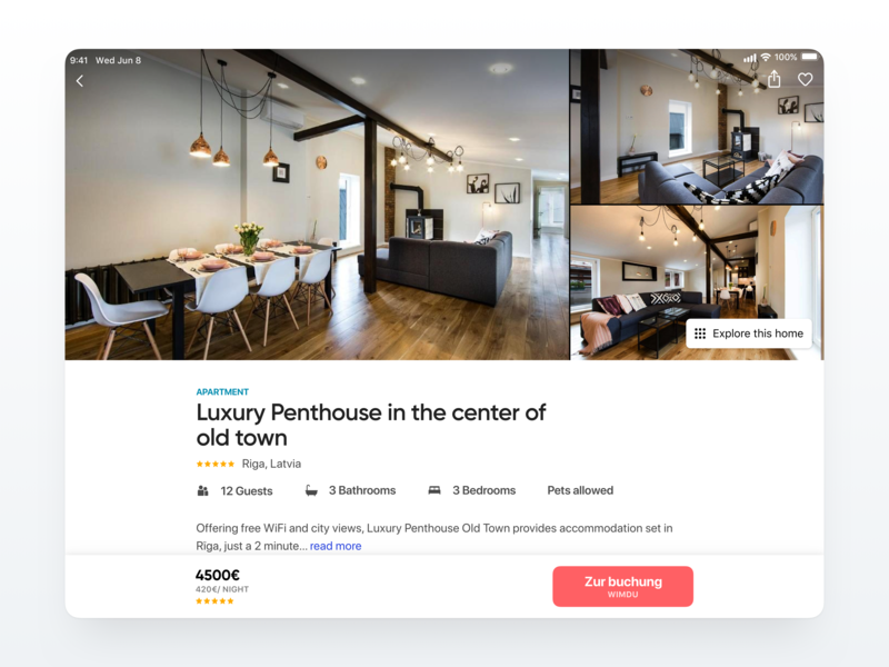 Apartment Page iPad Layout 🏡 holiday holiday home vacation flight booking image gallery details home apartment travel uix flat dailyui design app iphone ios ipad ux ui
