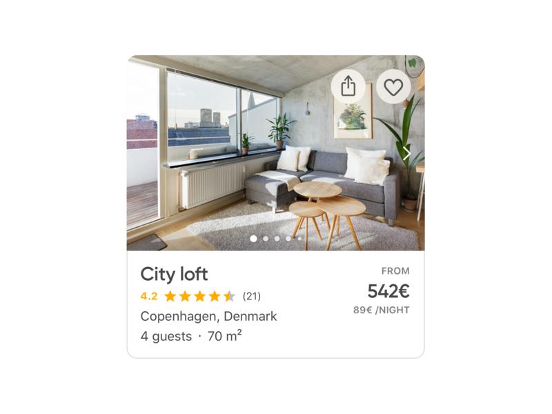 Apartment card 💎 vacation travel interaction design micro interaction daily ios app app design uidesign holidu rental apartment list view list ui list page list item list card ux ui