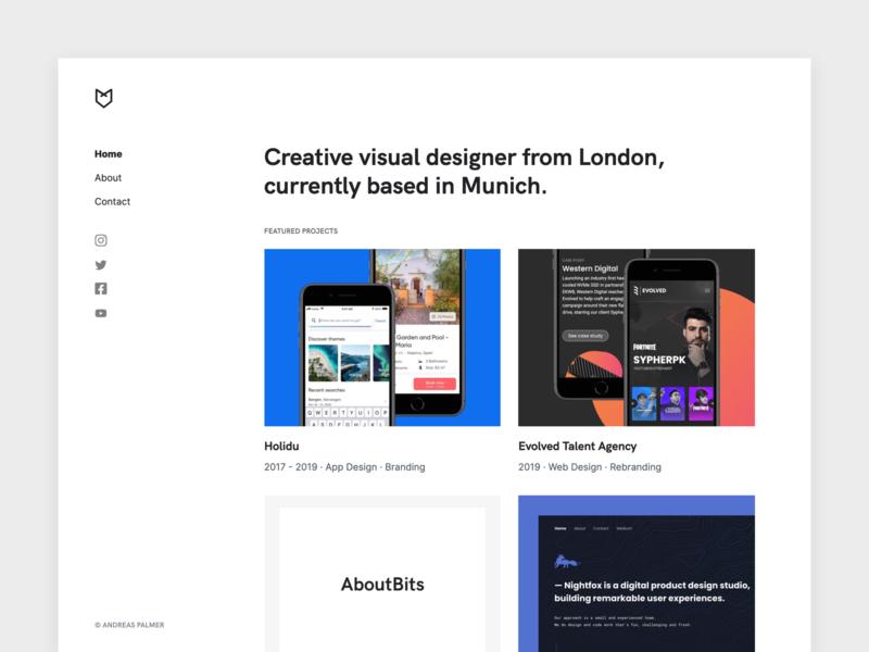 Portfolio Redesign for 2019 ⚡️ ux typography branding interaction logo flat sketch case study landing page dribbble designer portfolio visual design ui designer portfolio design portfolio