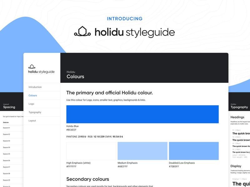 Holidu Styleguide styles guidelines logo branding holidu travel app ux ui design design system graphic design styleguides style style guide styleguide