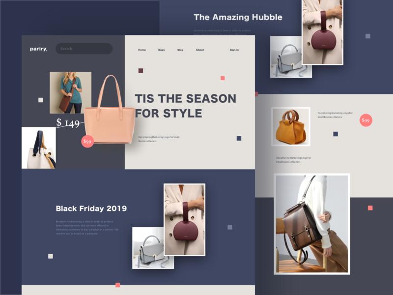 Pariry website design bags homepage landing web website ui ux design ecommerce e-commerce