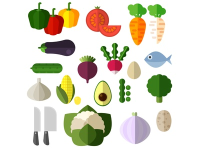 Flat vegetables icons set