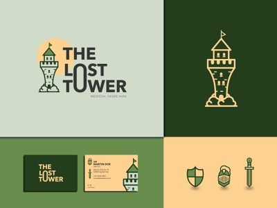 The Lost Tower visual design business card logodesigner brand design brand identity theme park knight castle medieval vectorart logodesign logo illustrator flat identity design typography logotype vector graphic branding