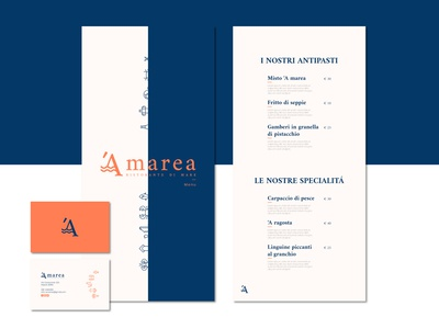 A marea:  menu + business card