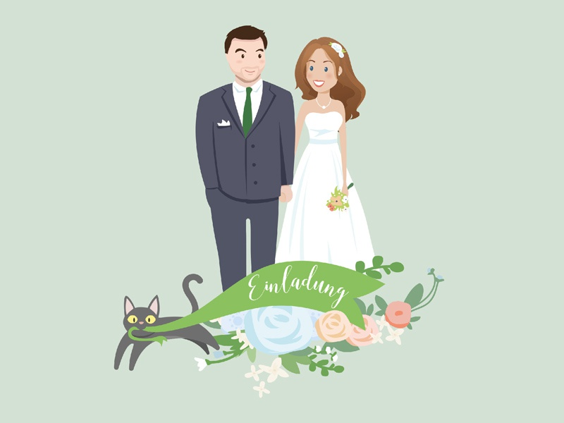 Wedding Invitation cat portrait illustration card invitation wedding