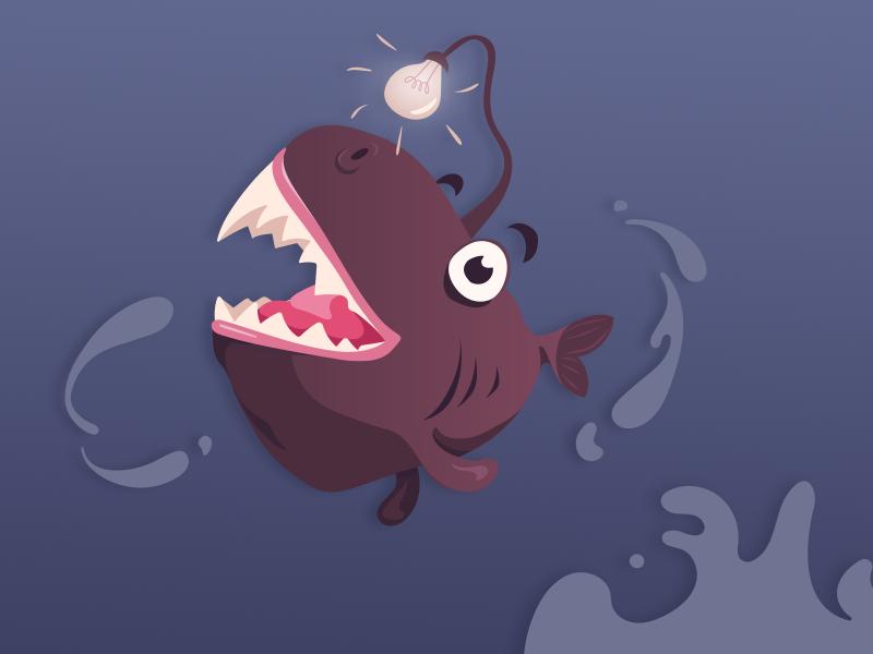 Happy Little Anglerfish happx lightbulb deep sea fish illustration
