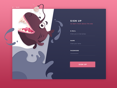Deep Sea SignUp – Daily UI Challenge onboarding 001 challenge dailyui card web ui gradients flat login illustration sign up