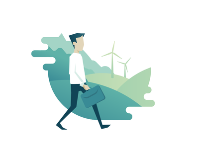 Green Country gradients country wind energy illustration flat logo
