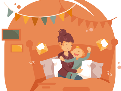 Mom & Child birthday flat illustration