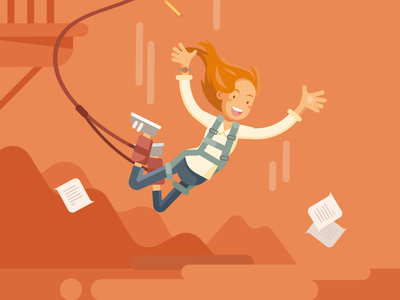 Bungee Jump freedom flat illustration