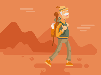 hiking grandpa senior flat illustration hiking