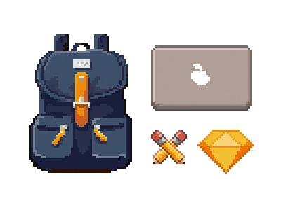 Pixel Equipment part01 pencils icons sketch mac backpack art pixel