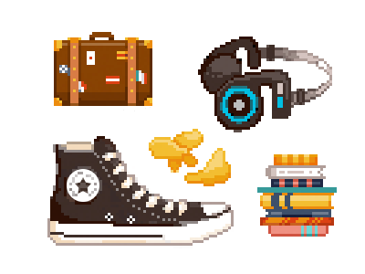 Pixel Equipment02 books chucks chips headphones suitcase art pixel