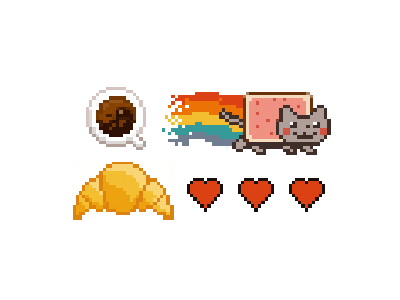 Pixel Equipment03 life croissant cat nyan coffee art pixel