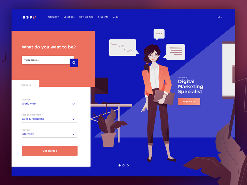 Daily UI #003 – Jobs Landing Page material flat illustration business careers page jobs search landing page daily ui 003