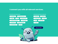 Marbot supported Features character design aws amazon web services supported list features tagcloud tags bot slack marmot robot mascot website cute web vector flat illustration