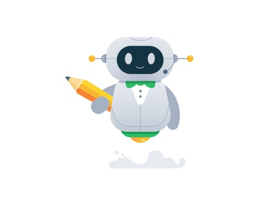 Robo Writer author cute mascot logo vector robot character design flat illustration