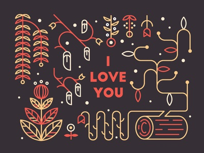 Valentine's valentines day i love you flat line plants flowers log