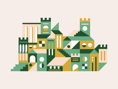 Towers illustration flat castle city buildings architecture towers