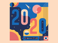 Happy 2020! flat space illustration 2020