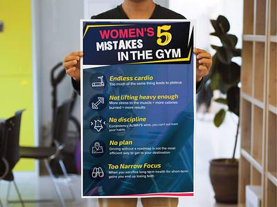 Gym poster design women strong fitness gym flyer design poster design typography photoshop vectorart design
