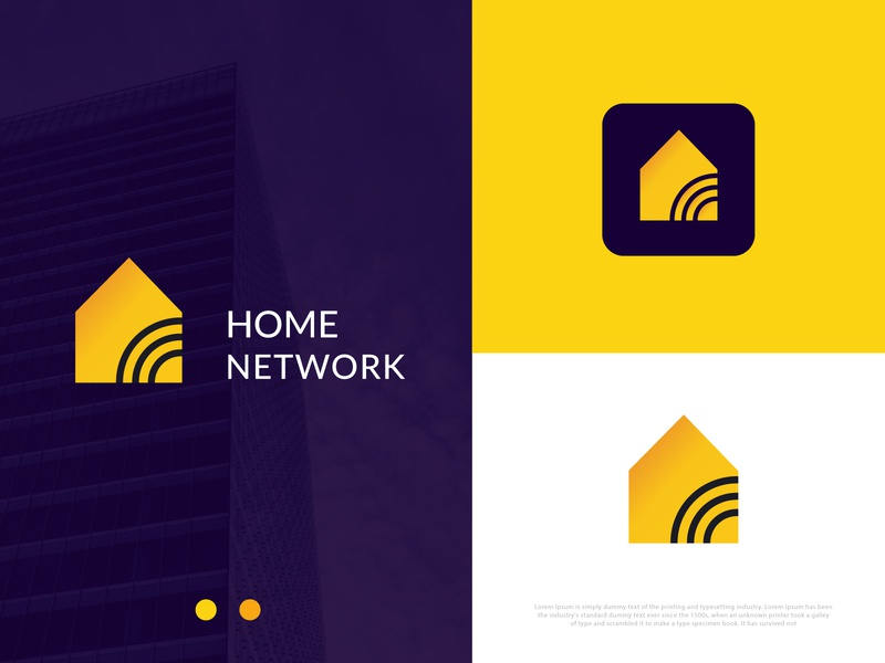 home logo l network l  digital mark yellow abstract logo cable modern logo service internet network home logo design gradient logo agency logo mark abstract technology morden typogaphy branding brand identity