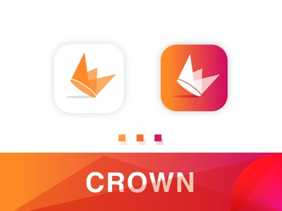 crown mobile app icon concept overlapping bold logo gradient design clean app logo modern icon crown icon desing icon design app icon isometric mobile app crown logo gradient abstract logo mark logo agency branding brand identity
