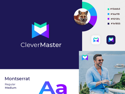 clevermaster logo designs conceptual gradient logo eye catching memorable creative logo modern logo tech logo technology m letter logo fox logo fox logo design gradient abstract logo mark logo agency morden branding brand identity