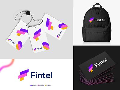 Fintel Branding typography pattern vector creative monogram mark logos visual identity colorful logo startup tech logo letter logo branding ecommerce print brand logo technology abstract branding brand identity