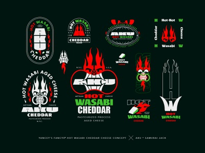 Aku's Hot Wasabi Cheese hot cheddar red devil mark logo icon seal stamp cheese illustration design brand identity branding