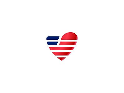 Feeding Veterans Logo heart american american flag brand identity vector logo icon design branding