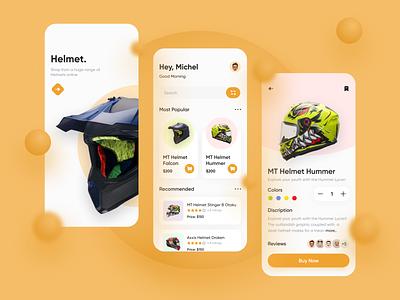 Helmet Shop minimal uiux design visual design concept design interface ux mobile ui app design ios app design mobile design online shop buy now clean ui add to cart helmet shop helmet helmet design ecommerce app ecommerce