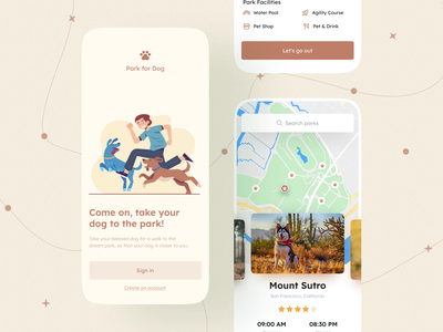 Find Park For Dog - iOS App mobile app design concept design inspiration 2021 trend trendy application app design dog illustration modern ui minimal uiuxdesign ux ui mobile app mobile design mobile pet care outside park pet